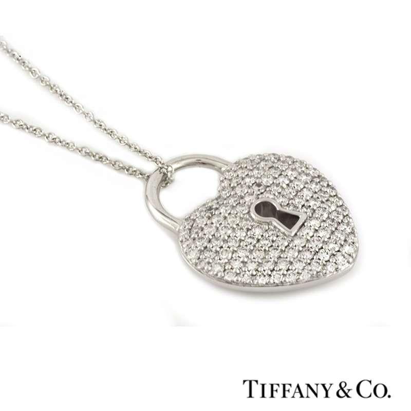 Tiffany co diamond set heart lock pendant in platinum 076ct diamond set heart lock pendant in platinum 076ct aloadofball Gallery